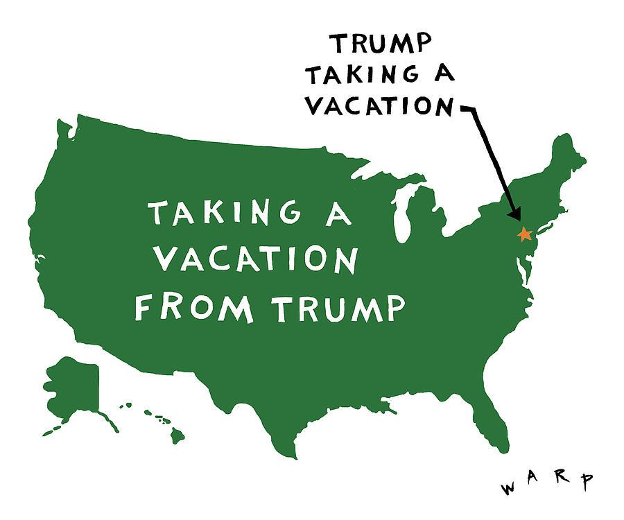 Taking a Vacation from Trump Digital Art by Kim Warp