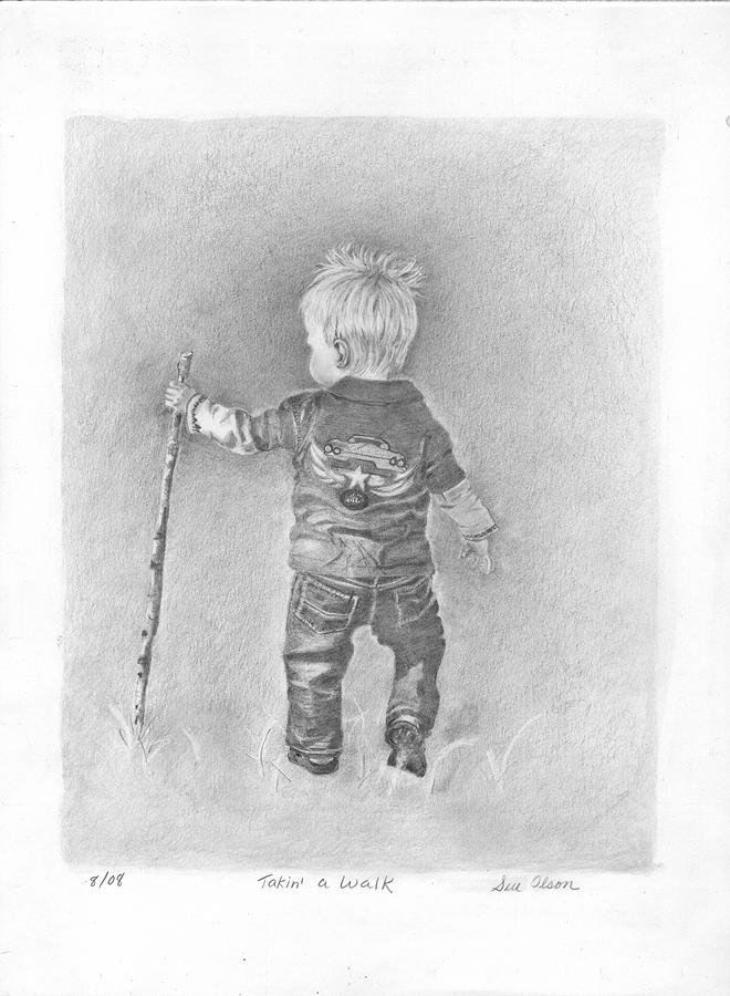 Baby Drawing - Taking A Walk by Sue Olson