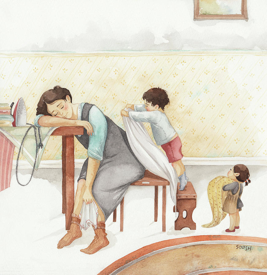 Soosh Drawing - Taking care of Mom by Soosh