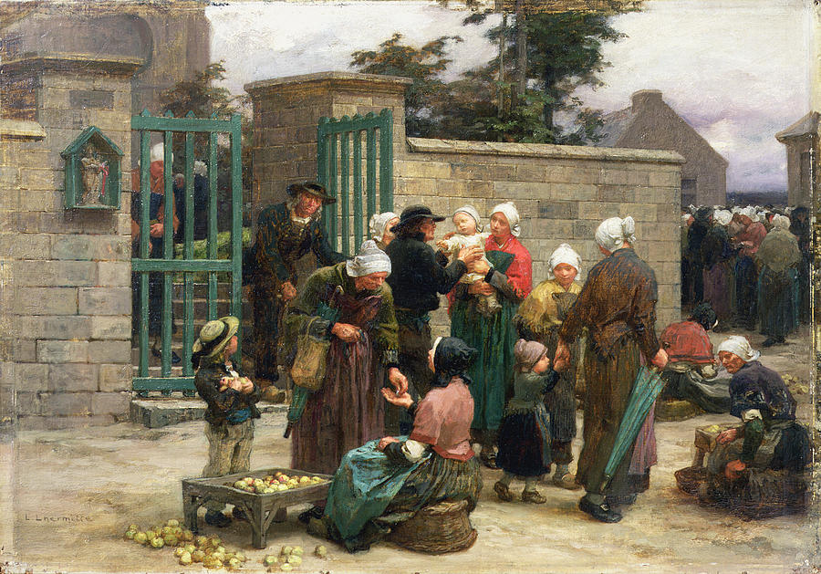 Taking Painting - Taking In Foundlings by Leon Augustin Lhermitte