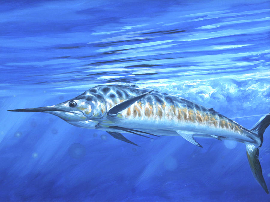 Blue Marlin Painting - Taking Line by Guy Crittenden