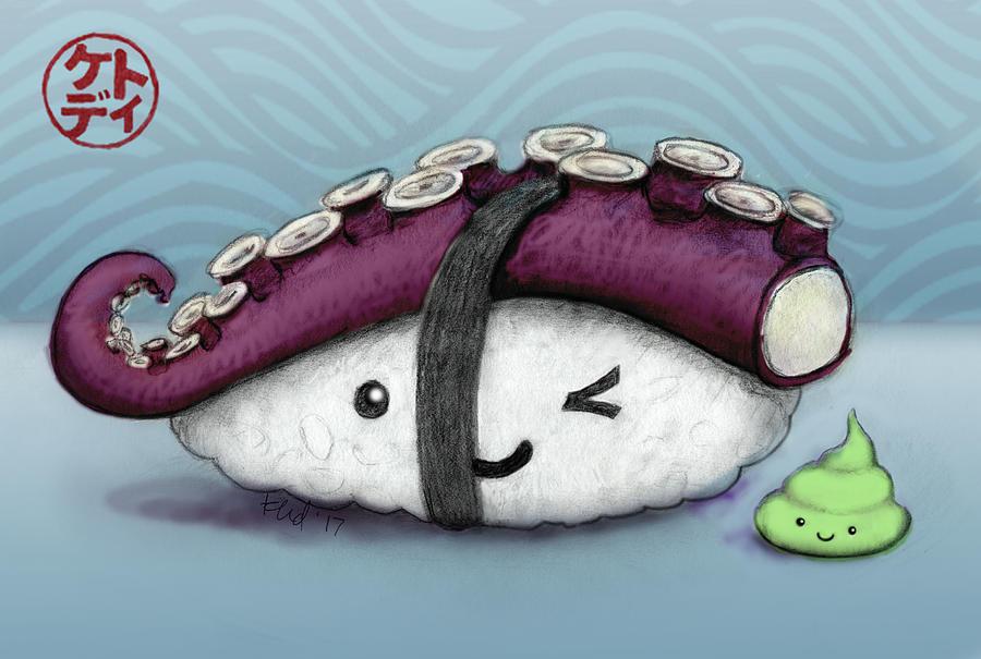 Sushi Mixed Media - Tako And Wasabi-san by Kato D