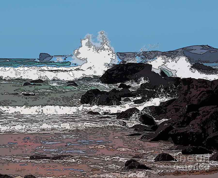 New Zealand Digital Art - Takou Bay Digital by Anthony Forster