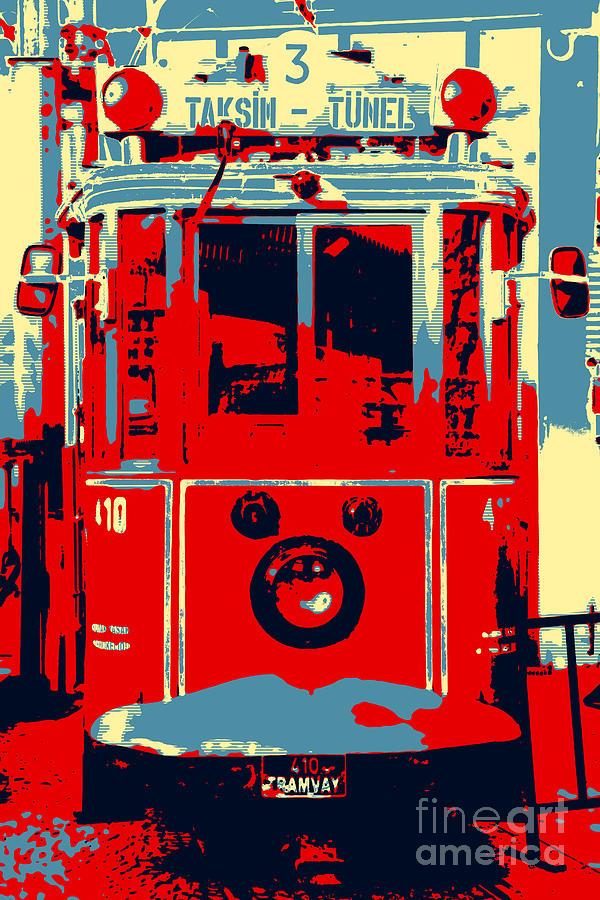 Taksim Digital Art - Taksim Tunel Pop Art by John Rizzuto