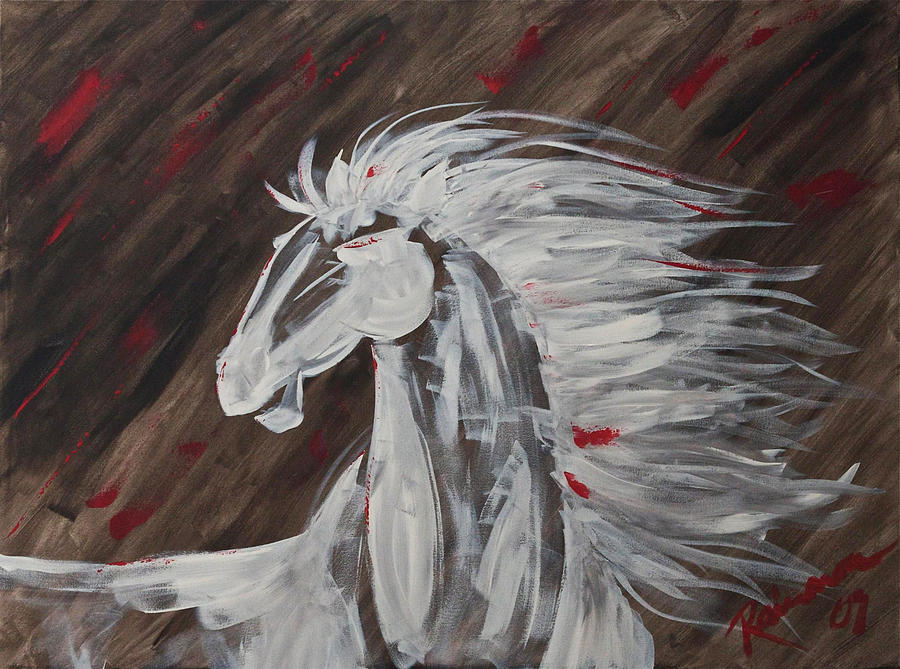 Horse Painting - Tale Of The Wind Horse by Stephane Trahan