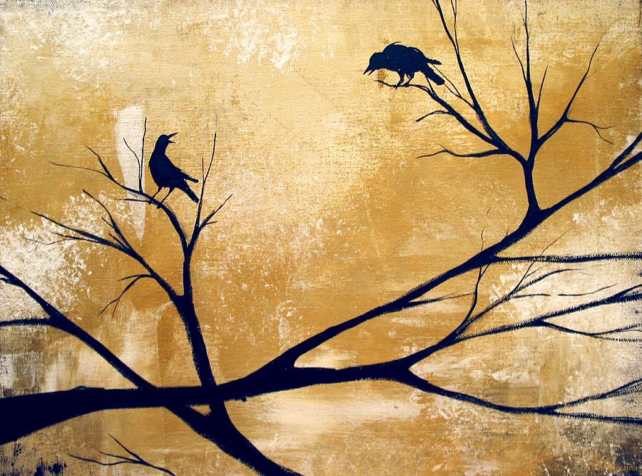 Landscape Painting - Talking A Lot Of Crow  by Debbie Criswell