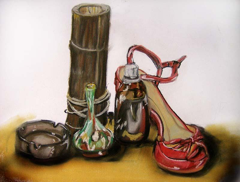 Talking Bottle With Shoe Drawing by Roxana Parje