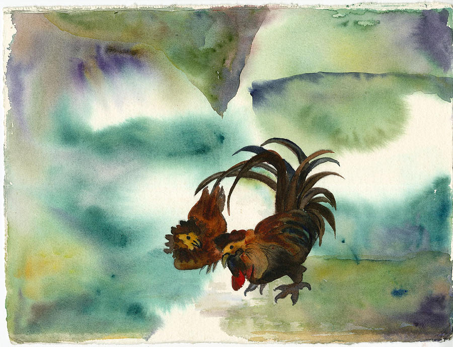 Chickens Painting - Talking Chickees by Ileana Carreno