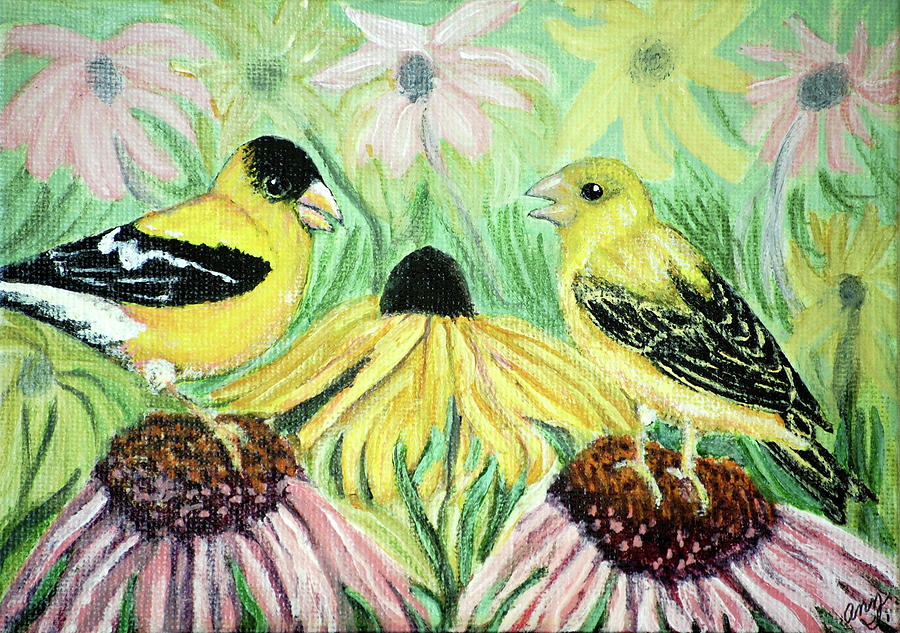 Finch Painting - Talking Finches by Ann Ingham