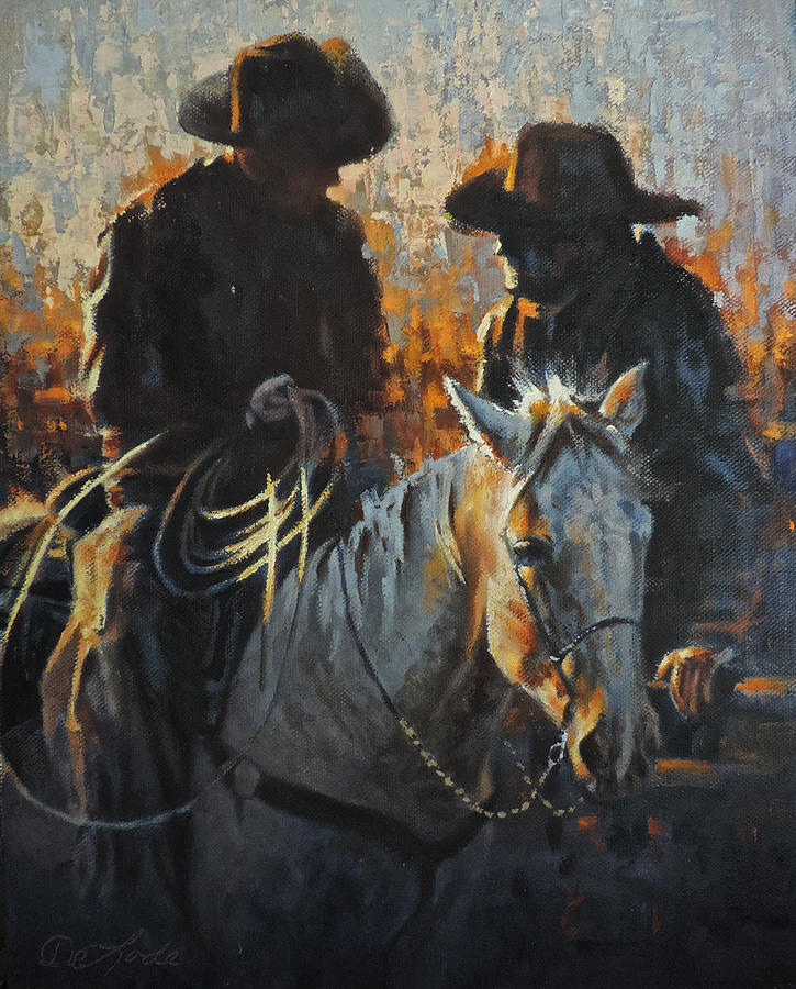 Cowboys Painting - Talking Tactics by Mia DeLode