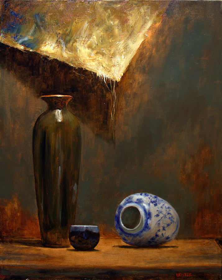 Tall Green Vase Painting By Richard Meister