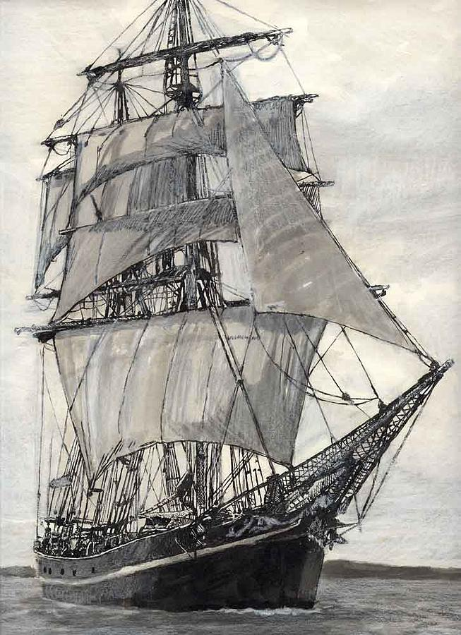 Tall Ship Painting by Michael  Carpenter