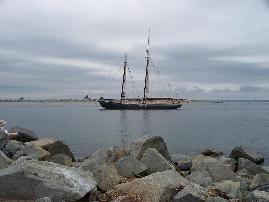 Seascape Photograph - Tall Ship Sailing Away by Rosanne Bartlett