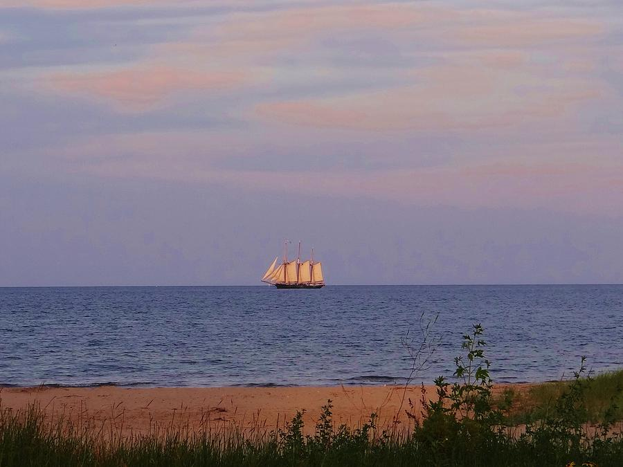 Sailing Photograph - Tall Ship Sailing On The Horizon by Linda McAlpine