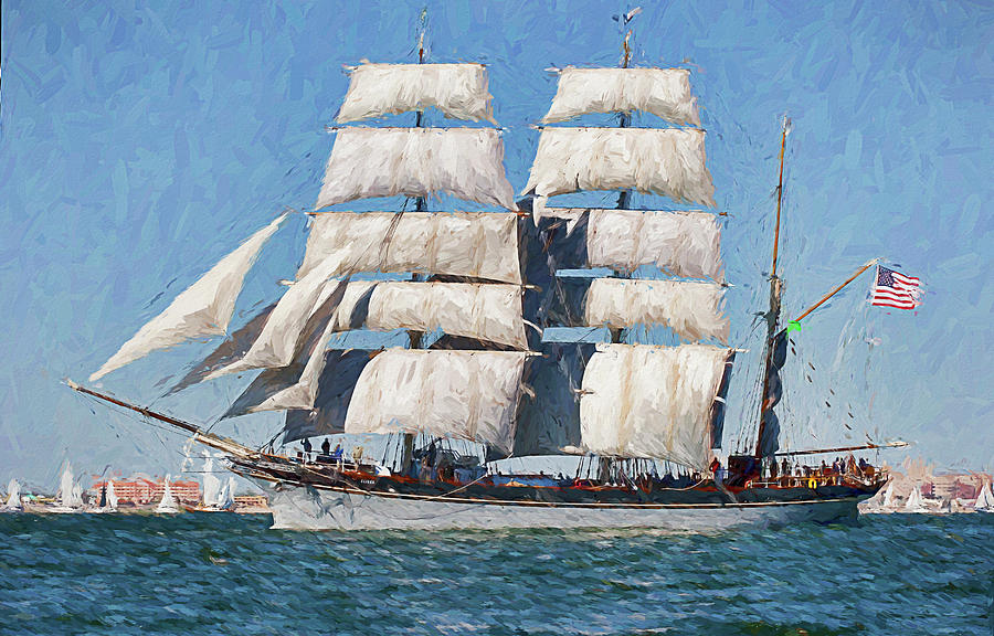 Waterscape Digital Art - Tall Ship Sailing by Ray Keeling