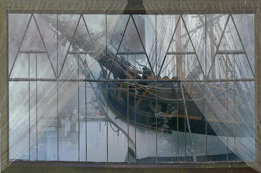 Tall Ship Digital Art - Tall Ship Through A Window by Jeff Burgess
