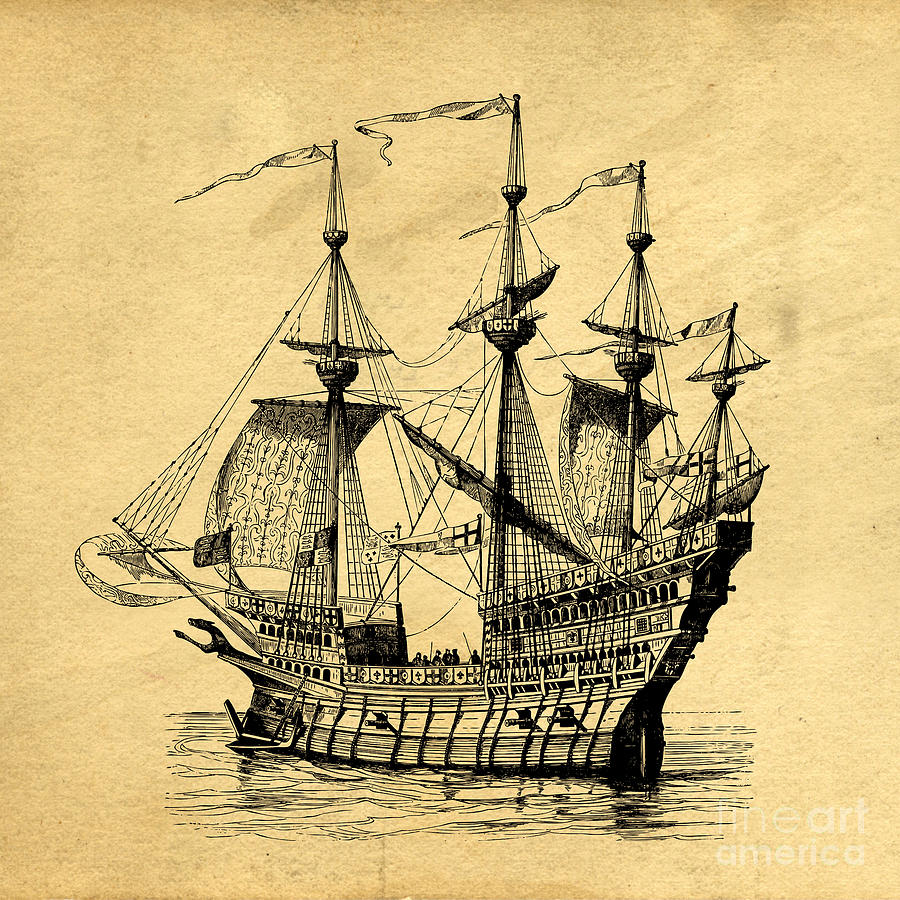 Pirate Drawing - Tall Ship Vintage by Edward Fielding