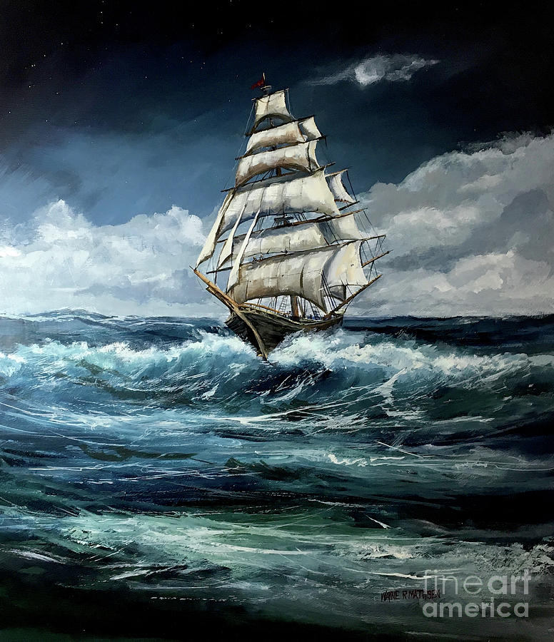 Moonlit Night Painting - Tall Ship by Wayne Mathisen