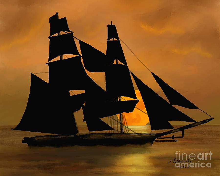 Tall Ship Painting - Tall Ship with a Harvest Moon by Judy Filarecki