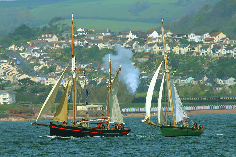 English Riviera Photograph - Tall Ships And Steam Trains by Tom Wade-West