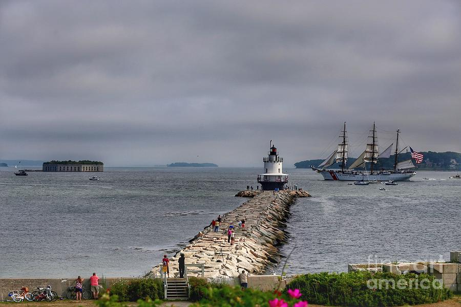 Maine Photograph - Uscg Eagle In Maine by Colleen Mars