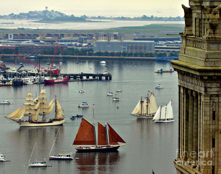 Boston Photograph - Tall Ships Sail Into Boston Harbor by Matt Frank