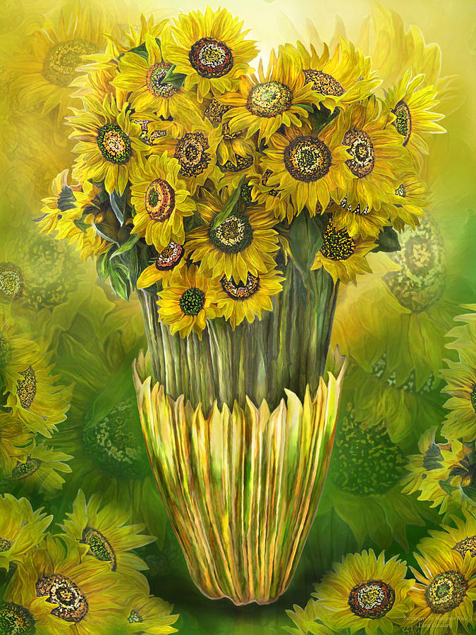 Tall Sunflowers In Sunflower Vase Mixed Media By Carol Cavalaris