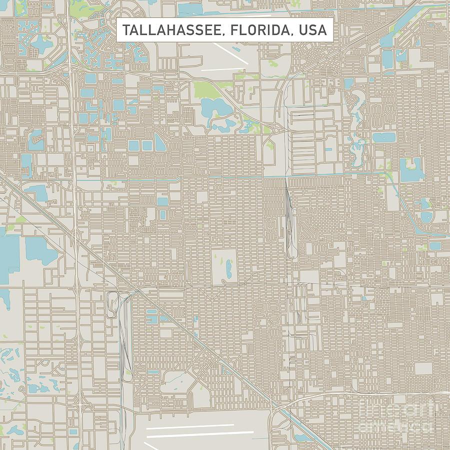 Tallahassee Florida Us City Street Map