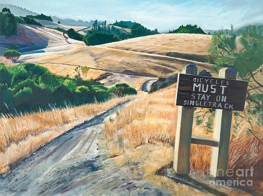 Mountain Bike Trail Painting - Tamarancho Trek by Colleen Proppe