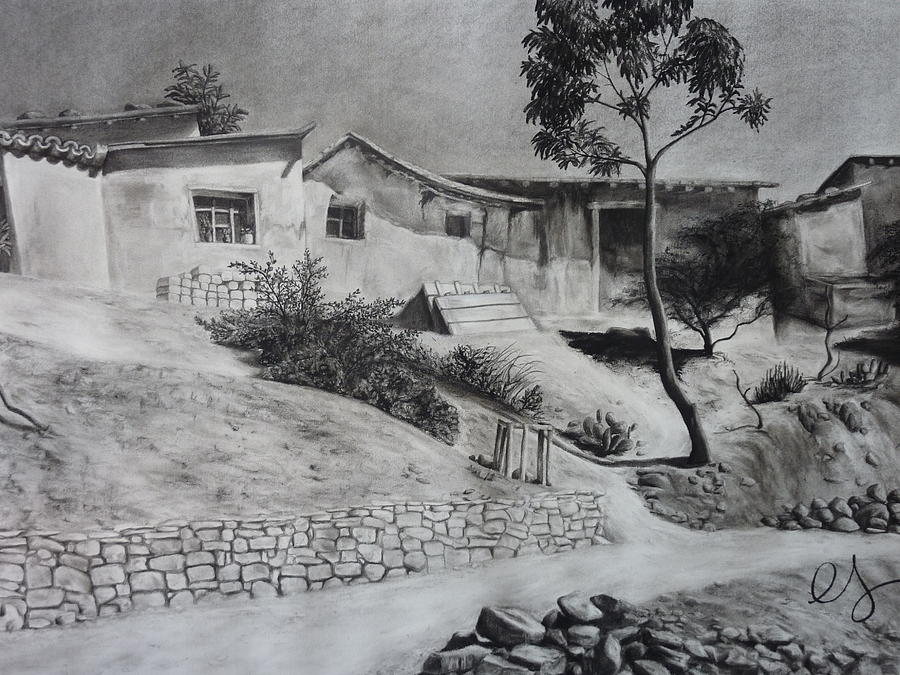 Charcoal Drawing - Tambo by Estephy Sabin Figueroa