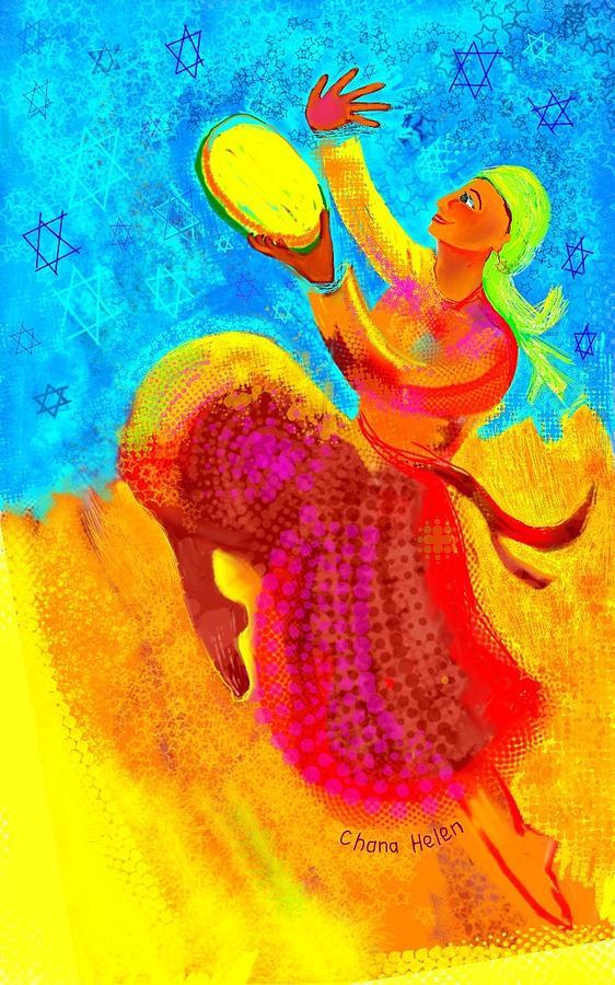 Tambourines Painting - Tambourine Joy 3 by Chana Helen Rosenberg