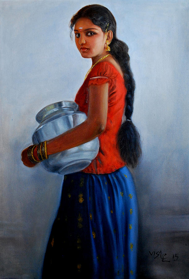 Tamil Girl With Steel Pot Painting By Vishalandra Dakur-8948