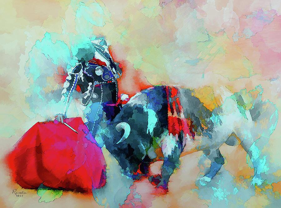 Bull Painting - Taming The Rebellious by Rosalina Atanasova
