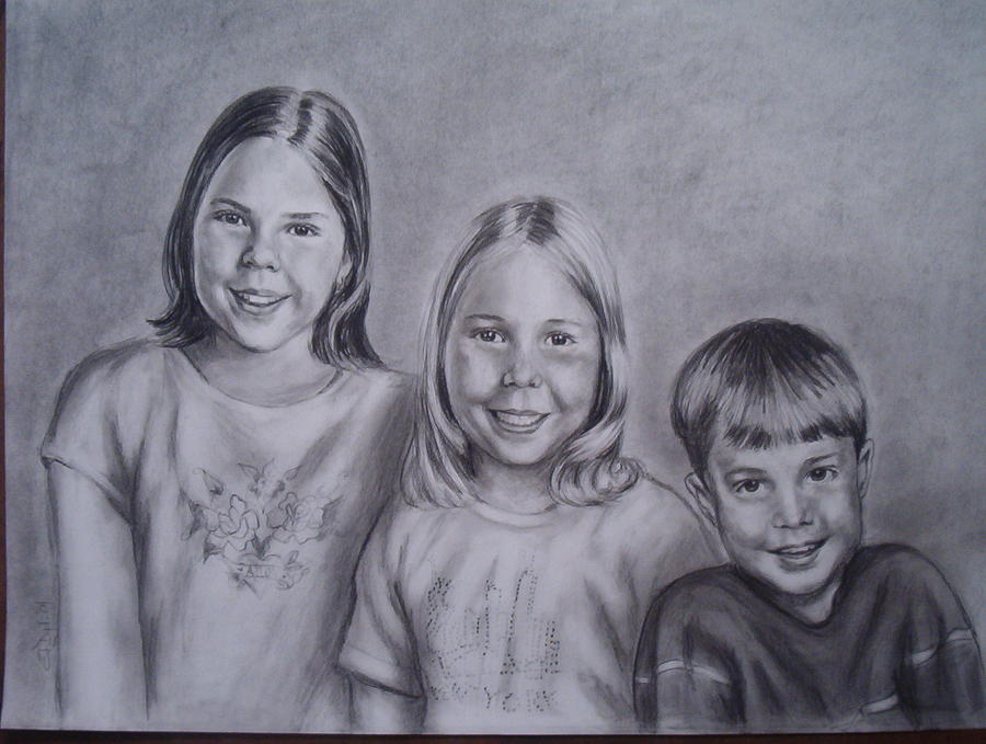 Portrait Drawing - Tampa Family by Jessica  Dyrli Campbell