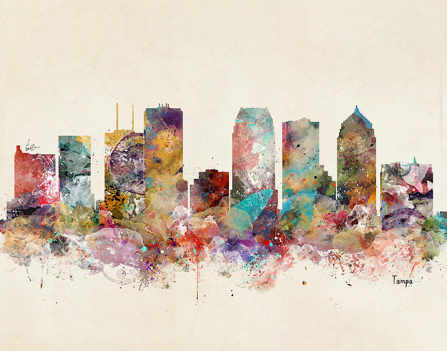 Tampa Skyline Painting - Tampa Florida Skyline by Bri Buckley