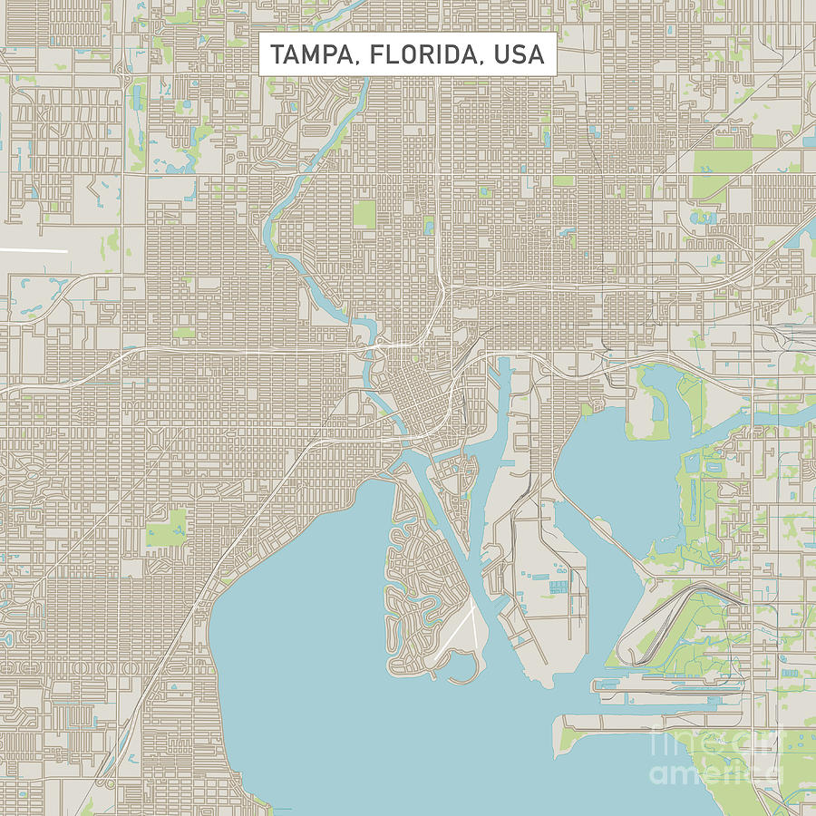 Tampa Florida Us City Street Map Digital Art by Frank Ramspott on