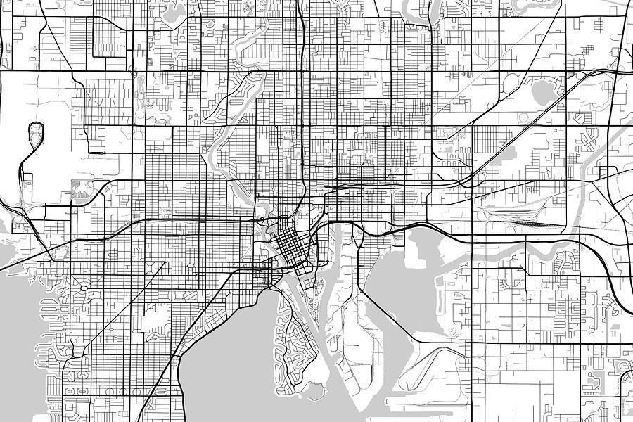 Tampa Florida Usa Map.Tampa Florida Usa Light Map Digital Art By Jurq Studio