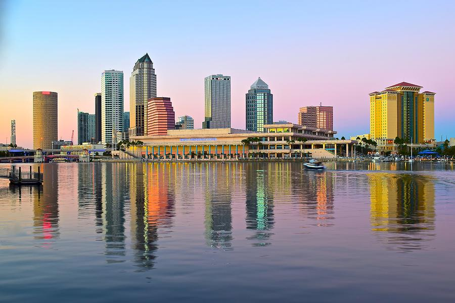 Tampa In Dazzling Sunset Colors Photograph