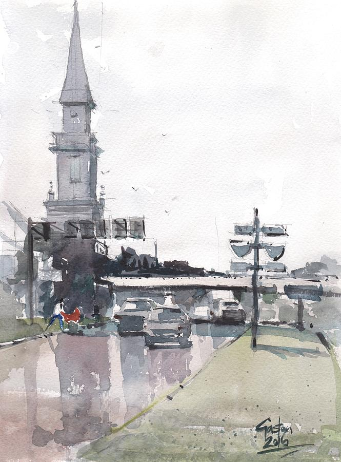 Tampa Painting - Tampa Tower At Hillsborough Intersection by Gaston McKenzie