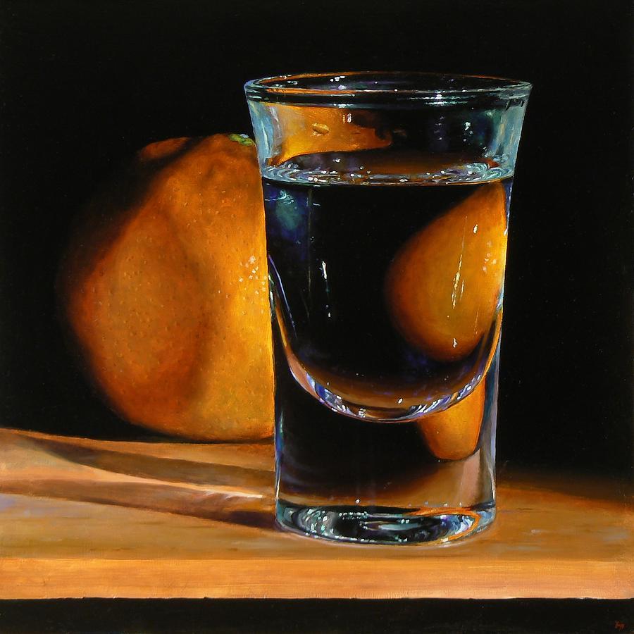 Tangerine Painting - Tangerine And Shotglass by Jeffrey Hayes