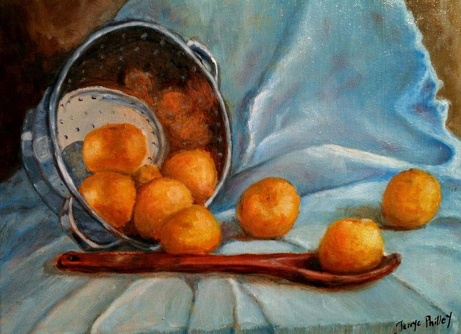 Still Life Painting - Tangerine Family Portrait by Terrye Philley