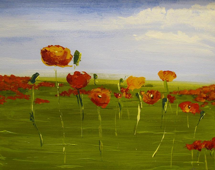 Tangerine Poppy Field by Vivian Mora