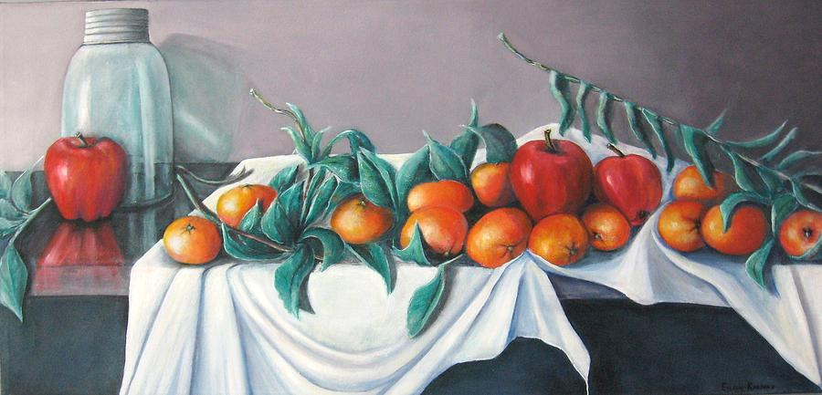 Still Life Painting - Tangerines And Apples by Eileen Kasprick