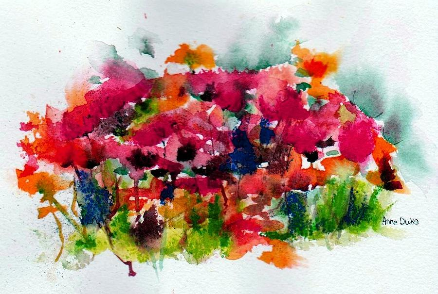 Watercolor Floral Painting - Tangle by Anne Duke