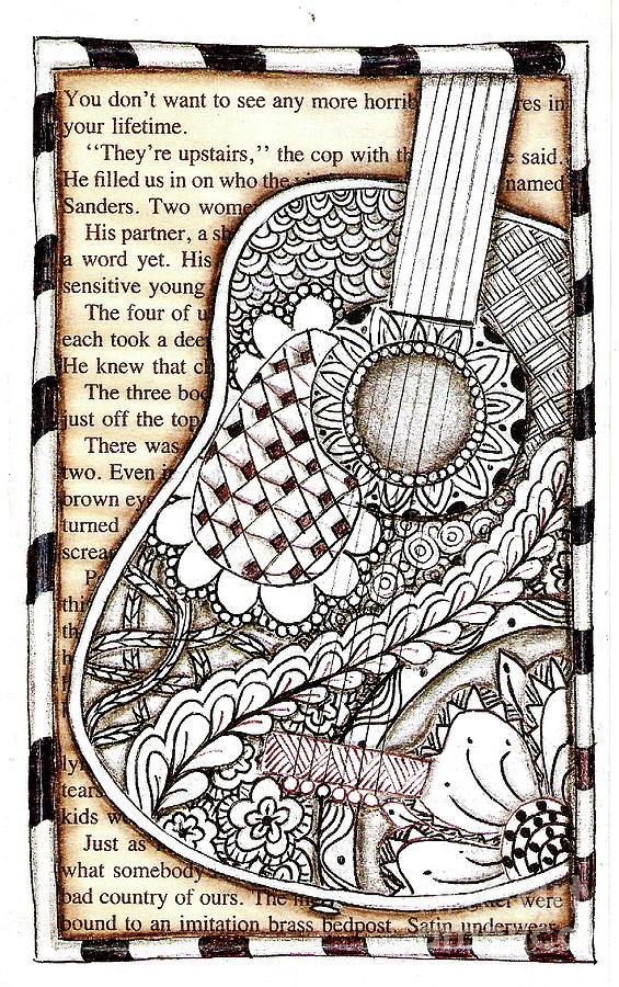 Musical Instrument Drawing - Tangle Guitar 1 by Delein Padilla