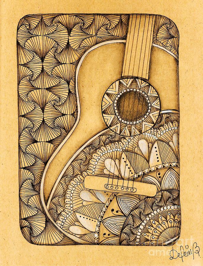 Guitar Drawing - Tangle Guitar by Delein Padilla