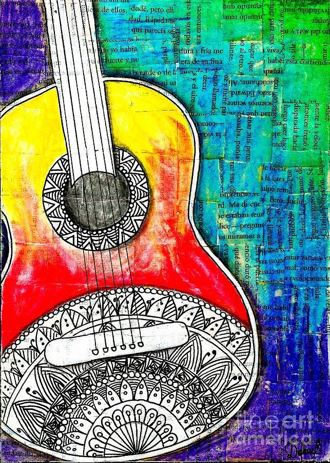 Guitar Drawing - Tangle Guitar No 4 by Delein Padilla