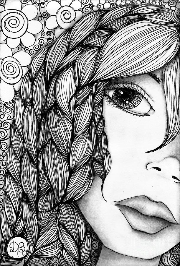 Drawing Drawing - Tangle Lady by Delein Padilla
