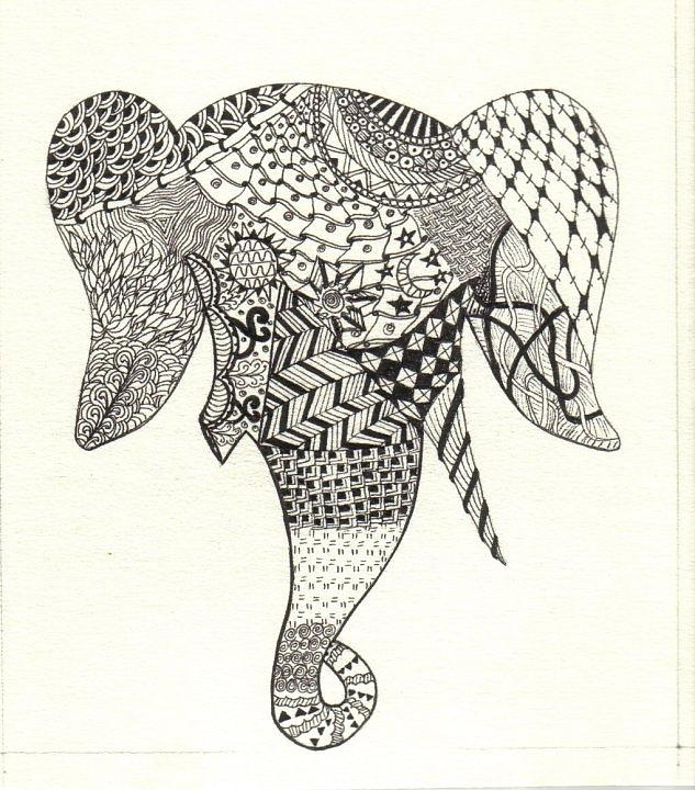 Elephant Drawing - Tangled Elephant by Ekta Gupta