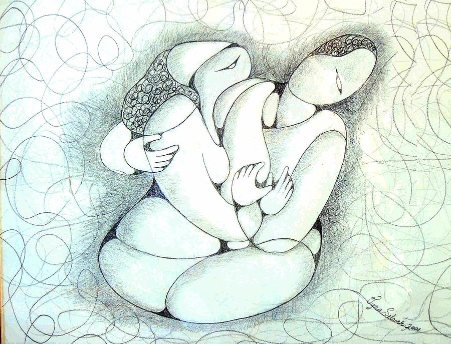Pencil Drawing - Tangled Emotion by Tyna Silver